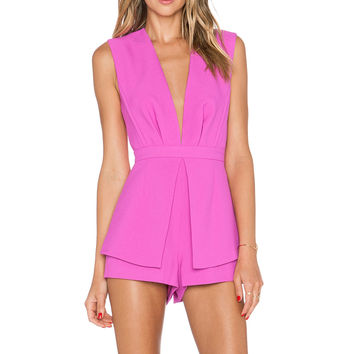 Finders Keepers Next In Line To Take A Bow Playsuit in Bright Fuchsia