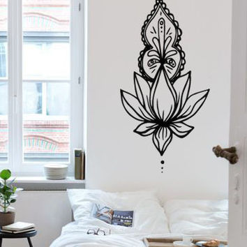 Unolome Narrow Ornate Lotus Boho Bohemian Wall Decal Sticker