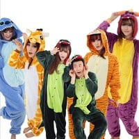 2017 New Fashion Women's Animals Cosplay Full Sleeve Polyester Sleep Lounge Onesuits Pajama Funny Pajamas Women