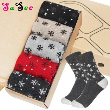 5 Pairs/ Lot Women Autumn Winter Warm Rabbit Wool Socks New Quality Thick Multi Small Snowflake Colorful Lagre Warmth Meias Sock