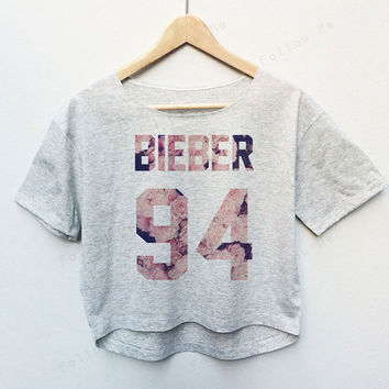 Justin Bieber Floral Singer Tees Crop Top Fashion T-shirt Woman