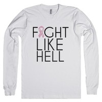 Fight like hell breast cancer awareness-Unisex White T-Shirt