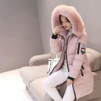 Warm Fur Fashion Hooded Quilted Coat Winter Jacket Woman Solid Color Zipper Down Cotton Parka Slim Outwear
