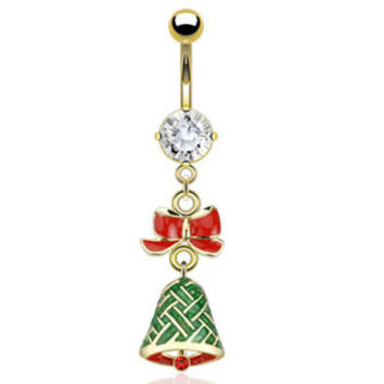 Gold Plated Christmas Belly Button Ring with Dangling Bow And Bell