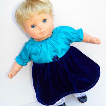 "American Girl Bitty Baby Clothes 15"" Doll Clothes Turquoise Navy Blue Satin Velvet Peasant Dress - Christmas"
