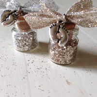 Baby Dust, Infertility, TTC, Baby Feet Charm, Silver Glass, Gold Glass, Glitter, Glitter Ribbon