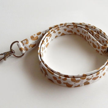 Leopard Print Lanyard / Leopard Keychain / Animal Print / Key Lanyard / ID Badge Holder / Fabric Lanyard / Cheetah / Metallic Gold