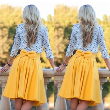 Women Fashion Sexy Summer Vintage Pleated Bow-knot Empire Waist Mini Skirt = 1947045636