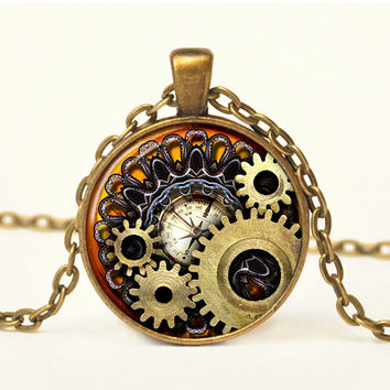 Steampunk Compass Photo Cogs Steampunk Jewelry Steampunk Necklace Steampunk Gears Mechanical Cogs