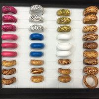 20pc Jewelry Lots Random Multicolor Fashion Wooden Rings for Women