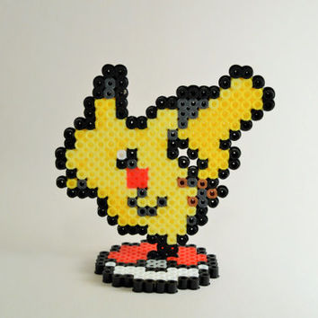 Pikachu Perler Sprite with Pokeball Stand