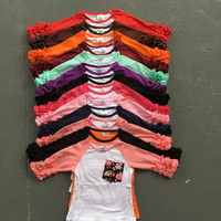 new half free shipping ruffles baby girls clothes o-neck girls casual tops 13 color in stock Autumn top icing raglans t shirt