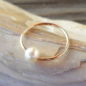 14K Solid Gold Captive Fresh Water Pearl Septum,Upper Ear Daith Rook,Tragus,Cartilage Hoop Earring,Nose Ring,Eyebrow Piercing, 20g-12mm