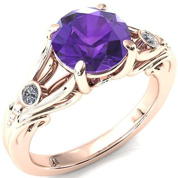 Aerolynn Round Amethyst 4 Prong Diamond Accent Engagement Ring