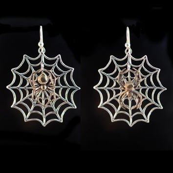 Spider and Web Earrings Silver and Bronze Version Spiderweb Earrings Spider Jewelry Spiderweb Jewelry