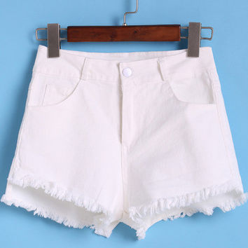 White Fringe Denim Shorts with Pockets