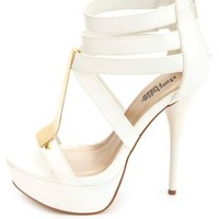 Gold-Plated Strappy Platform Heels by Charlotte Russe - White