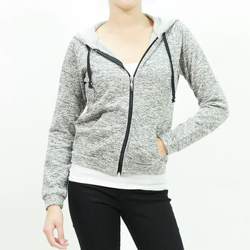 Melange tweed blended knit zip-up grunge hoodie Gray