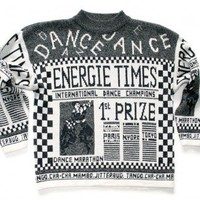 Shop Now! Ugly Sweaters: Vintage 80s Newspaper Tacky Ugly Dance Sweater Women's Size Large (L) $18 - The Ugly Sweater Shop