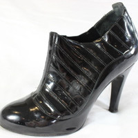 "~~~ MAJOR-LUST ~~~ KILLER CHANEL ""TOPSTITCHED"" BLACK PATENT BOOTS/BOOTIES ~ 40"