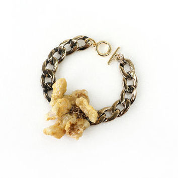 Sparkling Yellow Druzy Crystal Stone Statement Bracelet with Burnt Antique Gold Big Curb Chain