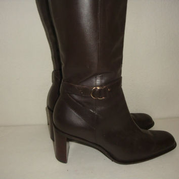 vintage QUILT STITCH brown leather mid calf boots heels hipster indie boho women size 7 1/2 38 Brazil