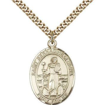"Saint Bernadine Of Sienna Medal For Men - Gold Filled Necklace On 24"" Chain -... 617759006575"