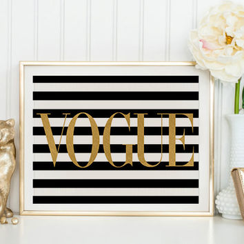 FASHION PRINT Vogue Gold Print Poster VoguePoster Brand Vogue Wall Decor Vogue Fashion Wall Art Fashionista Typography quote