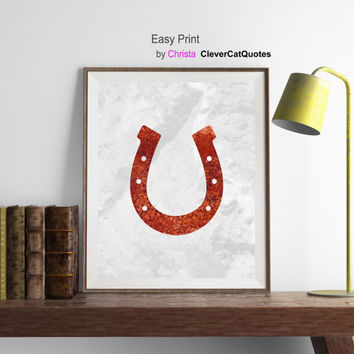 Prints art Horseshoe , Western wall art, Horseshoe wall decor, Red grey print, Rustic art, Good luck horseshoe, Instant download, Minimalist