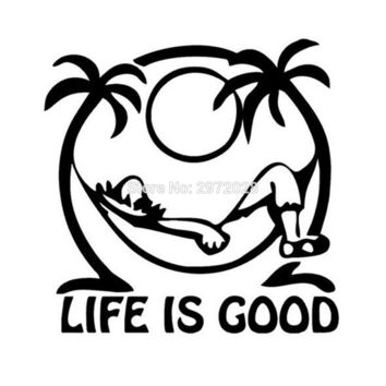 10 x Newest Design Funny Life Is Good Creative Decorative Auto Decal Cartoon Car Reflective Sticker Car Body Decal Pattern Vinyl