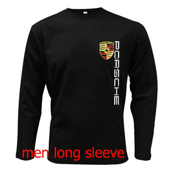 PORSCHE LOGO T-Shirt Men Long Sleeve Tshirt Black Cotton Tee Shirt S - 2XL