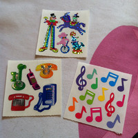 Lot of 3 Sandylion Stickers Clown Horse Dog Circus Phones Music Musical Notations Notes Glimmer Shimmer