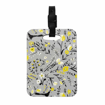 "Laura Nicholson ""Blackbirds On Gray"" Gray Yellow Decorative Luggage Tag"