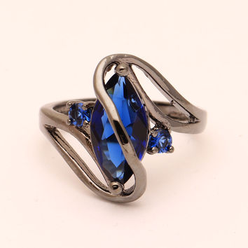 Blue 8 2016 royal blue black ring for women promise wedding luxury engagement rings pyriform us 6-10 Pink Cubic Zircon diamond Ring