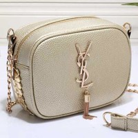 YSL Women Shopping Leather Metal Chain Crossbody Satchel Shoulder Bag-17