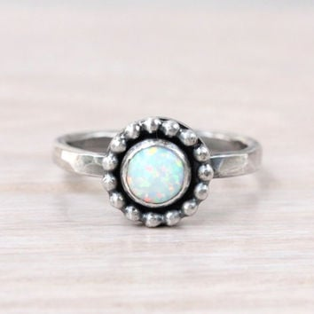 Opal ring, sterling silver, with 6 mm white lab opal, stacking ring, beaded setting, October birthstone, stackable, promise ring, handmade