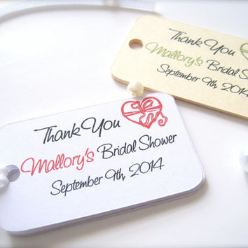 Bridal shower favor tags, personalized thank you tags, party favor tags - 30 count