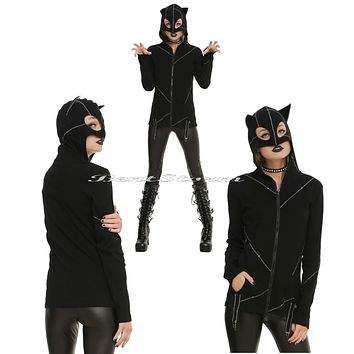Licensed cool Royal Bones Tripp Stitched Kitty Cat Costume Hoodie Cosplay Ears Mask Catwoman