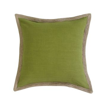Jute Handcrafted Border, Square Accent Pillow Cover - OLIVE