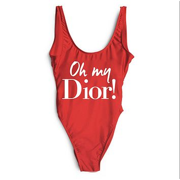 Dior SWIMMER SWIM TAN TOP VEST SHIRT V NECK WOMEN LETTERS BOTTOMING CLOTHES