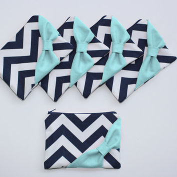 Bridesmaid Gift Set / Bachelorette Favors - Navy Chevron Aqua Bow - Customizable Wedding Cosmetic Cases - Choose Quantity and Bow Style