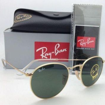 LMFON Tagre? Cheap NEW Ray Ban Sunglasses 3447 001 round Metal Johan Lennon Gold Frame green lens outlet