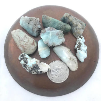 "Set of 3 Larimar Stones, 1 to 1.5"" each, Tumbled Larimar, Polished Larimar, Dominican Larimar, Genuine Larimar, Larimar Nuggets"