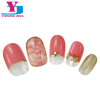 Pink Sexy Leopard Pre Design Fake Nails Glitter Nail Tips Artificial Nails With Glue Full Cover Artificial  3D False Nail Tips
