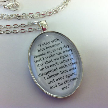 Divergent I Choose Him Oval Book Quote Silver Pendant Charm Necklace