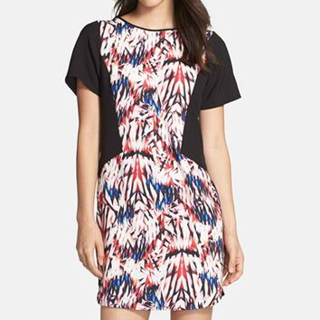 Women's FELICITY & COCO Colorblock Crepe Shift Dress ,