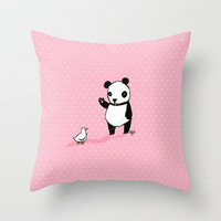 Little Panda and Toy Duck Throw Pillow by Dale Keys | Society6