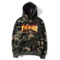 Thrasher Fashion Print Camouflage Hoodie Top Sweater