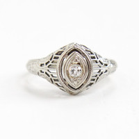 Antique 18k White Gold Art Deco Diamond Ring - Size 6 Vintage Filigree 1920s 1930s Wedding Engagement Fine Jewelry