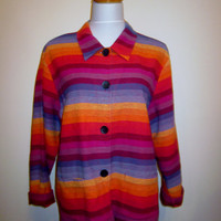 Vintage Striped Rainbow Jacket, Womens XL Petite, Colorful Jacket Southwest Color Gay Pride Rainbow Petite
